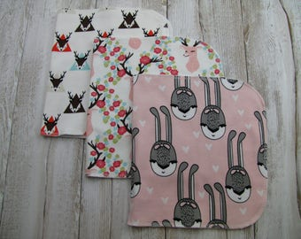 Ready to ship. Baby burp cloths Set of 3. Baby gift. Girl burp cloths.