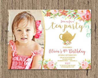 Tea party birthday invitation, tea party invitation, pink and gold watercolor flowers floral tea party birthday digital Printable Invitation