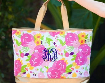 Floral Cabana Bag - Beach Tote - Monogram Bag - Floral Tote Bag - Bridesmaid Gift - woman Gift -