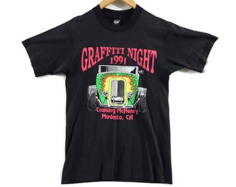 VTG 1991 Hot Rod T-Shirt - Small - Screen Stars - Graffiti Night - Cruising McHenry - Modesto CA - Vintage Tee - Vintage Clothing -