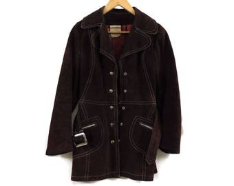 Vintage 70s Chocolate Suede Leather Jacket - XS Womens - Dark Brown Suede Jacket - 1970s Clothing - Vintage Clothing - Canada - 3/4 Length -