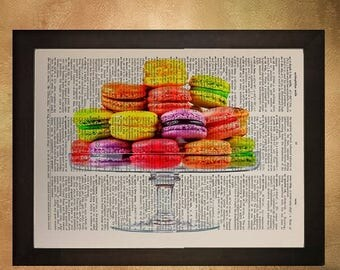 SALE-SHIPS Aug 22- French Macarons print kitchen decor food art kitchen art upcycled vintage dictionary page Macaroons da504