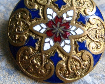 A vintage French enamel button, enamelled button, brass button, red,blue,white