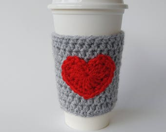 Coffee Cozy Light Grey and Red Heart - Valentines Day Gift