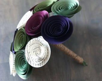 Bridal Bouquet - Succulent Paper Flower Bouquet - Wedding Bouquet - Bridesmaid Flowers - Wedding Bouquet Alternative - Bridal Flowers