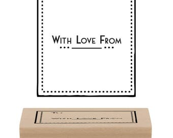 "Nice wooden stamp for gift tag ""With love from"""