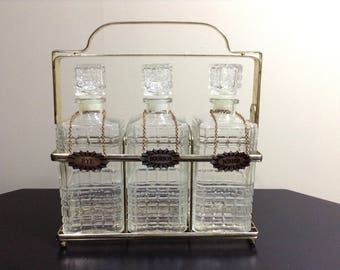 Mid Century Brass Tantalus Liquor Decanter Set / Vintage Liquor Bottle Set with Tags and Caddy