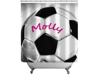 Soccer Ball Shower Curtain Personalized Shower Curtain Custom Bath Decor Boys  Bath Decor