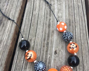Halloween Adjustable Cord Chunky Necklace  // Adjustable // Chunky Bead Necklace // Pumpkin // Spiderweb