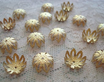 Sale! 36 or 100 Golden Raw-BRASS Filigree Bead Caps.12x6mm Open, Lotus Flower Stamped Caps. Pliable, Adjustable Raw Brass. ~USPS Rates/OR
