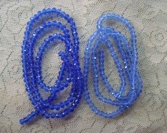"4x3mm Medium Blue Rondelles. 150pc  Full 18"" Strand. Beautiful, Faceted, Little Royal Blue, Medium Cobalt Blue Rondelles. Permanent Color"