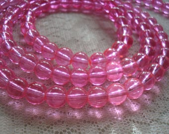 "52 or 104 Hot Pink Translucent Glass Rounds. 8mm. Smooth Imitation Pink Druk Beads. 15.5"" or 31"" Strands! Vibrant, Dyed, Fuchsia Pink Beads."