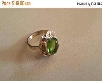 Holiday SALE 85 % OFF Peridot  ring size 9 Sterling 925 Silver   Ring  Gemstone