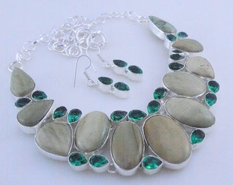 free shipping Imperil jasper-Diopside .925 Silver Handmade Jewelry Necklace 92 Gr. F-446-43