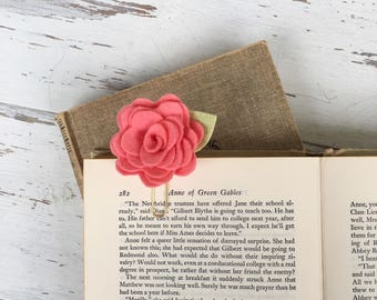 Whimsical Coral Felt Flower Rose Paper Clip