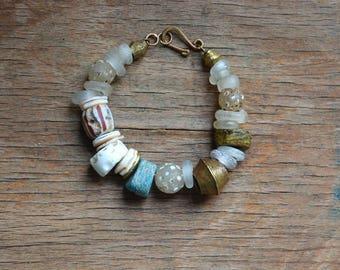 Hebron trade bead bracelet with antique Dutch beads, skunk beads and antique Yoruba bronze