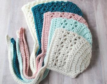 Baby Bonnet, Crochet Baby Bonnet, Knit Baby Bonnet, Newborn Baby Bonnet, Custom Baby Bonnet, Custom Crochet Bonnet, Baby Girl Gift, Bonnet