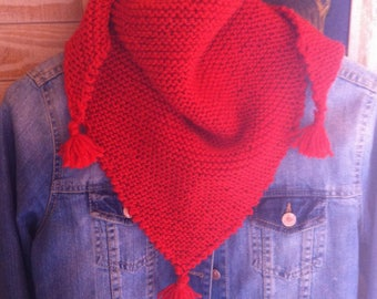 Scarf with vermilion wool Pompom