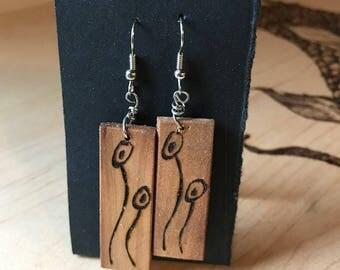 Wood Burned 'Poppy' Earrings