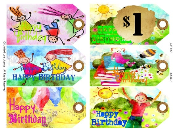 Party kids happy birthday gift tag children balloons digital party kids happy birthday gift tag children balloons digital download bright colors special day boys girls diy printable collage scrapbook from negle Images