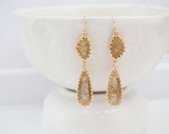 Champagne Druzy and Gold Earrings