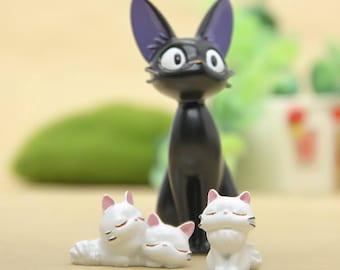 3pcs kiki's delivery service Black Cat Jiji & Girlfriend Studio Ghibli Miniature Terrarium Figurine set