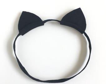 Cat Ears Headband - Elastic Cat Ears - Halloween Headband - Cat Ears - Halloween - Infant Headband - Baby Headband - Newborn Headband