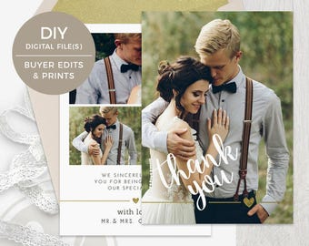 Wedding Thank You Card Template - Wedding Thank You Template , Instant Download, Photoshop Template for Photographers, Wedding Photo