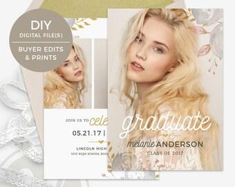 Senior Graduation Announcement Template - Floral Graduation Invitation, Graduation Party Invitation, Instant Download, Open House Invitation