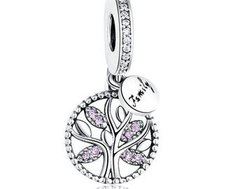 925 Silver Family Tree Charm Bead. 100% Sterling Dangle Round Pendant with Pink CZ Crystals Fits Pandora Jewelry Bracelet for DIY