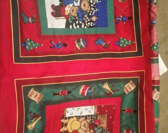 Teddy Bears Pillow Panel, Holiday Teddy Bear Carolers and Teddy Bear Family Set of 2 Panels, Vintage fabric