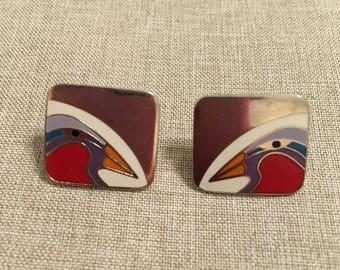 """Laurel Burch Vintage Post Earrings 3/4"""" x 3/4"""" - Wear on the Backs"""