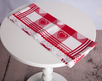 Red Heart Print Hand Made Kitchen Towel