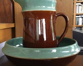 "Vintage Red Wing ""Village Green"" Covered Pitcher with Bowl - Made in USA - 1951 to 1958"