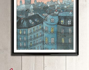 Poster illustration the rooftops of Paris