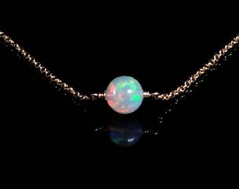 Ethiopian Opal Choker Necklace, White Opal Necklace, Opal Choker, Dainty Opal Choker, October Birthstone Necklace, Birthstone Necklace