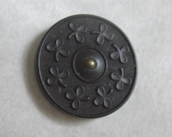 Medium Clover Button Goodyear Rubber Plant Life Button  Back Marked  Great Other Material Button OneWomanRepurposed B 847