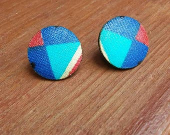 Blue Tribal Print Button Earrings, Button Earrings, Stud Earrings, Afrocentric Print Earrings, Tribal Print Earrings, Diamond Print
