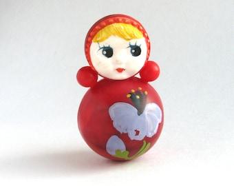 Roly Poly Doll, 6.5 cm, Nevalyashka, Cute Toy, Flower, Floral decor, Soviet vintage plastic toy, Souvenir, Nursery Decor, USSR, 1980s