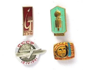 Set of 4 Soviet Space Badges, Vintage metal collectible badge, Spacecraft, Soviet Pin, Vintage Badge, Made in USSR, 1970s