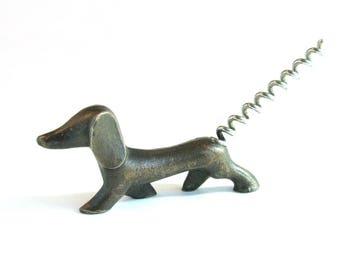 Vintage corkscrew Dog, Dachshund, Bottle opener, Soviet Vintage, Figurine,  Home Decor, Kitchen Decor, Made in USSR, Soviet era, 1970s