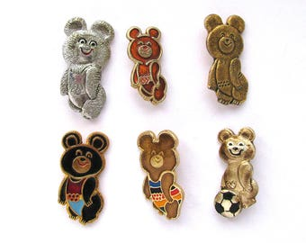 Misha, Bear, Pick your Badge, Sign of Olympic Games, Moscow 1980, Olympic, Sport, Vintage metal collectible badge, Soviet Pin, USSR, 1980s
