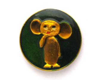 Cheburashka, Vintage collectible badge, Soviet Vintage Pin, Vintage Badge, Made in USSR, 1980s