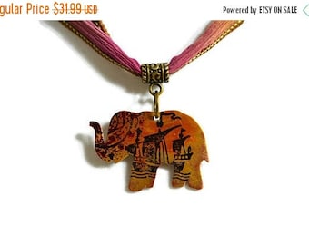 XMASINJULY Elephant Necklace, Patina Necklace, World Map Jewelry, Silk Necklace, Copper jewelry, elephant gift, animal necklace, African jew