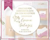 Personalized Foiled Thank You Stickers - SPANISH - Mi Bautizo - Gracias Por Compartir Este Dia Con Nosotros
