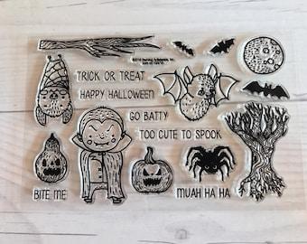 Halloween stamps, pumpkin stamps, gourd stamps,  bat stamps, vampire stamps, october daily, halloween planner, halloween scrapbook, cards