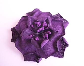 Application Matt purple fabric flower brooch