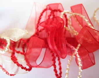 Frou frou pink and cream satin organza and cord Ribbon trim