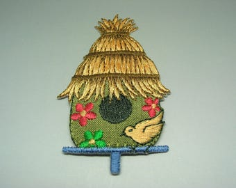 Embroidered patch application Bird House pattern