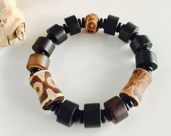 Genuine Black Onyx and Tibetan Agate Men's Stretch Bracelet